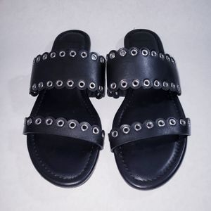 Paige Black Grommet Scalloped Sandals